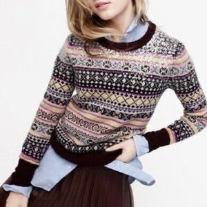 J.Crew Sequin Fair Isle Lambswool Knit Pullover Sweater Women's Size Small